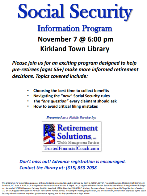 Social Security Information Session Kirkland Town Library